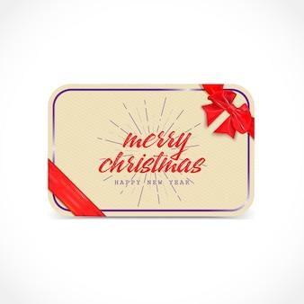 Carte de voeux joyeux noël avec arc et ruban elle peut être utilisée pour concevoir des cartes de voeux