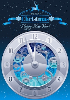 Carte de voeux joyeux noël. bannière de vacances avec des horloges sur fond de ciel de nuit
