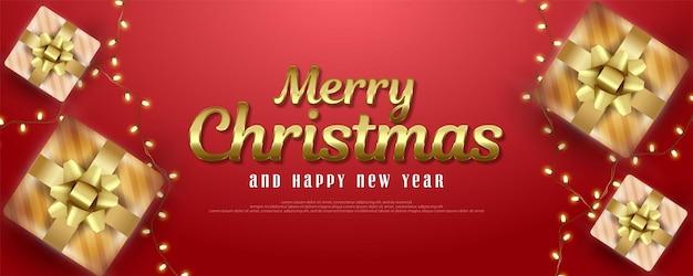 Carte de voeux joyeux noël et bonne année avec coffrets cadeaux et lumières décoratives