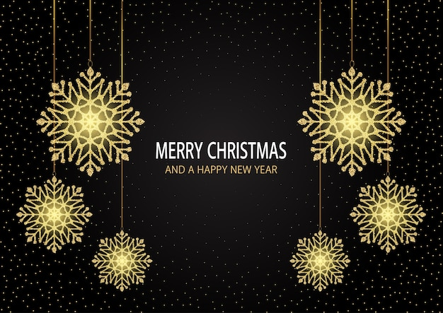 Carte de voeux joyeux noël et bonne année avec un design de flocons de neige étincelants