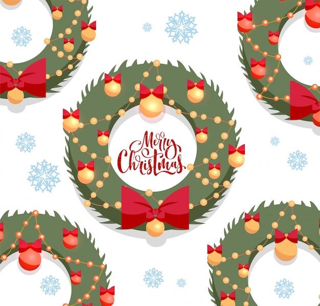 Carte de voeux joyeux noël. couronnes vertes de noël décorées par un arc rouge et des boules en or