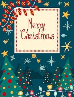 Carte de voeux - joyeux noël avec des éléments festifs et des branches de sapin vert.