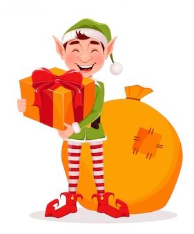 Carte de voeux joyeux noël avec elfe drôle