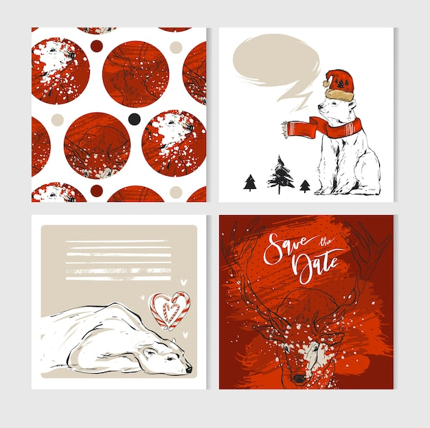 Carte de voeux de joyeux noël faite à la main sertie de personnages mignons d'ours polaire et de cerf de noël en vêtements d'hiver, cartes de journalisation de noël dans des couleurs pastel, blanches et rouges.