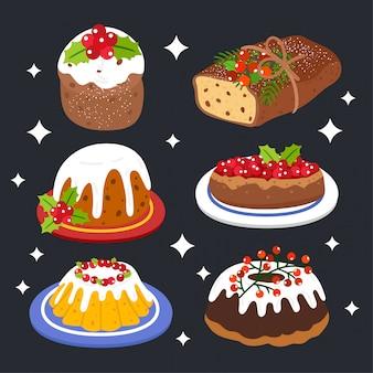 Carte de voeux joyeux noël avec des gâteaux de noël.