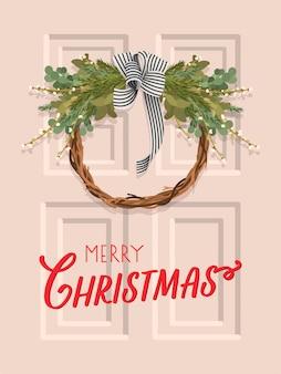 Carte de voeux joyeux noël avec guirlande sur la porte