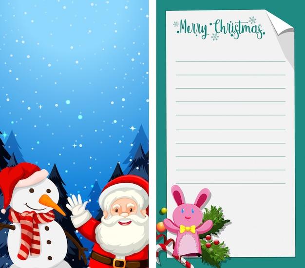 Carte de voeux joyeux noël ou lettre au père noël avec un modèle de texte