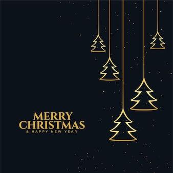 Carte de voeux joyeux noël et nouvel an avec arbre doré suspendu