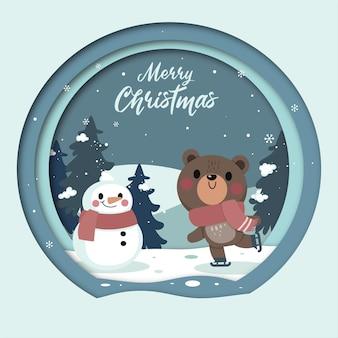 Carte De Voeux Joyeux Noël Avec Ours Mignon Et Bonhomme De Neige Vecteur Premium