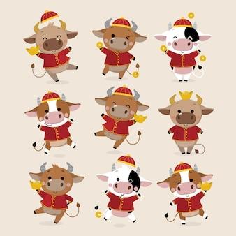 Carte de voeux joyeux nouvel an chinois. zodiaque de boeuf.