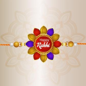 Carte de voeux joyeux raksha bandhan avec des éléments créatifs de rakhi