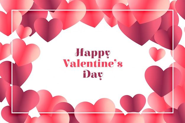 Carte de voeux joyeux saint valentin coeur brillant
