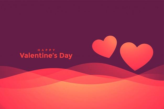 Carte de voeux joyeux saint valentin coeurs ondulés