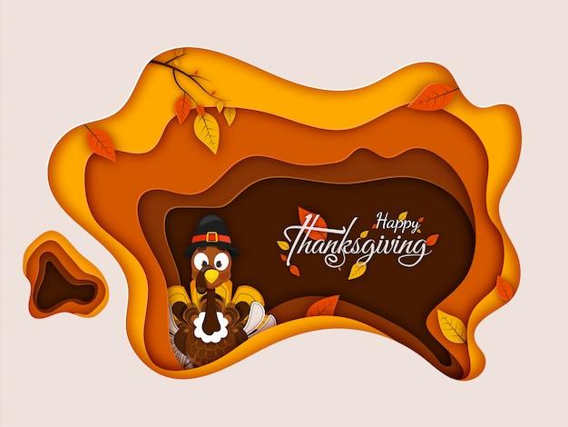 Carte de voeux joyeux thanksgiving avec illustration de la turquie portant chapeau de pèlerin et feuilles d'automne décorées sur papier coupé style.