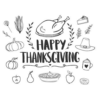 Carte de voeux joyeux thanksgiving avec lettrage dessiné à la main dinde et griffonnages de vacances