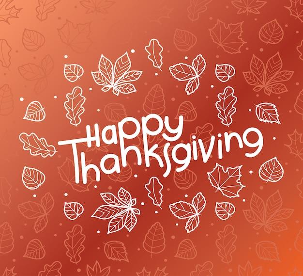 Carte de voeux joyeux thanksgiving avec texte dessinée à la main.