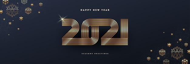 Carte de voeux avec logo du nouvel an doré et flocons de neige sur fond noir.