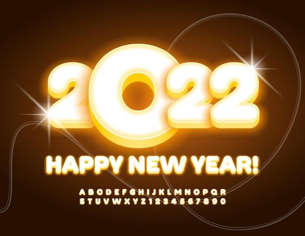 Carte de voeux de lumière vive de vecteur happy new year 2022 alphabet jaune illuminé