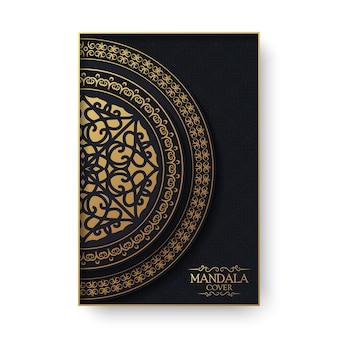 Carte de voeux de luxe avec motif mandala et bordure dans un style rétro