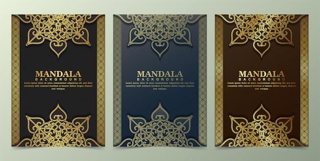Carte de voeux de luxe avec motif mandala dans un style rétro