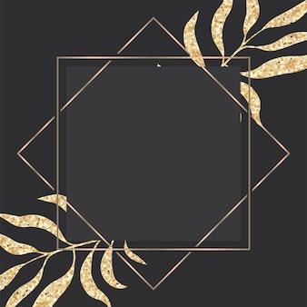 Carte de voeux de luxe en or et noir avec cadre de feuilles tropicales