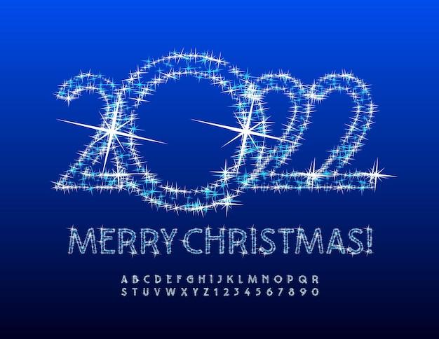 Carte de voeux magique de vecteur joyeux noël 2022 étoiles scintillantes lettres et chiffres de l'alphabet