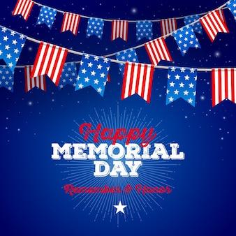 Carte de voeux memorial day usa drapeaux patriotiques guirlandes contre ciel étoilé