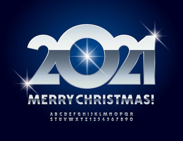 Carte de voeux métallique joyeux noël 2021! police chrome. lettres et chiffres de l'alphabet en argent