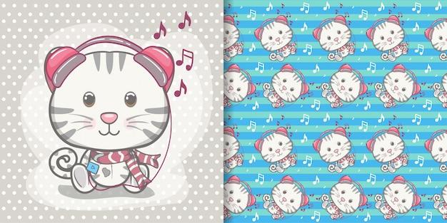 Carte de voeux mignon bébé chaton avec jeu de motifs