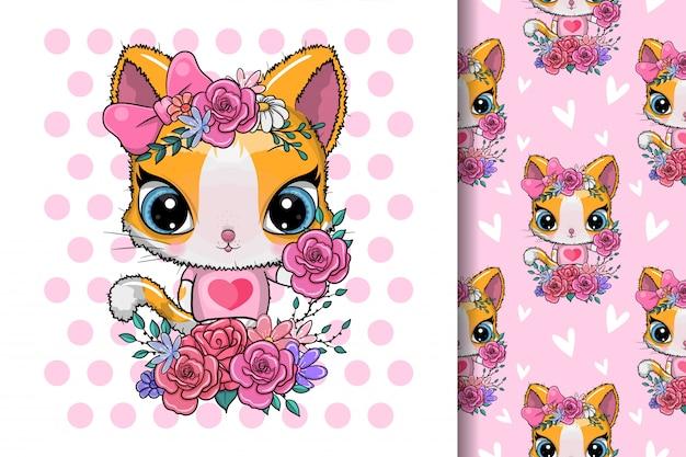 Carte de voeux mignon chaton avec des fleurs
