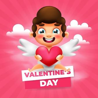 Carte de voeux mignon cupidon saint valentin