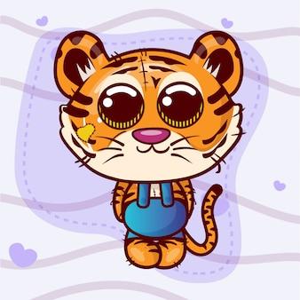 Carte de voeux mignon garçon tigre cartoon - vecteur