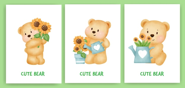 Carte de voeux mignon ours en peluche dans le style de couleur de l'eau.
