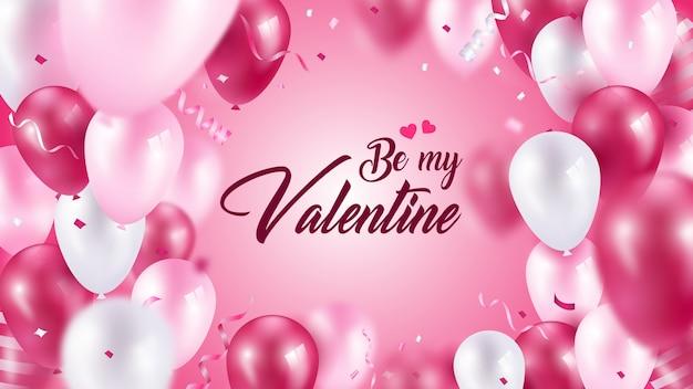 Carte de voeux mignonne be my valentine balloon