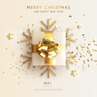 Carte de voeux minimale de noël et du nouvel an avec un cadeau réaliste et des étoiles