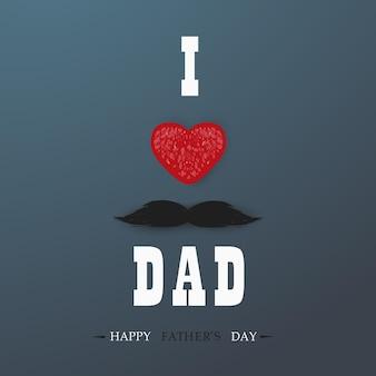 Carte de voeux de modèle de bonne fête des pères. je t'aime papa. fête des pères bannière, flyer, invitation, félicitation ou conception d'affiche. notion de fête des pères.