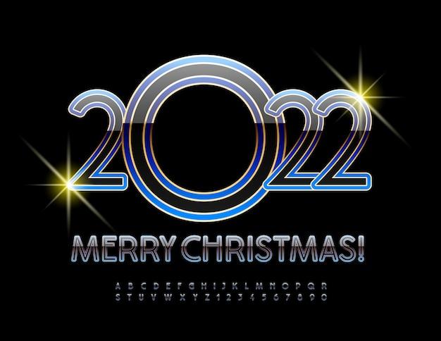 Carte de voeux moderne de vecteur happy new year 2022 style premium jeu de lettres et de chiffres de l'alphabet