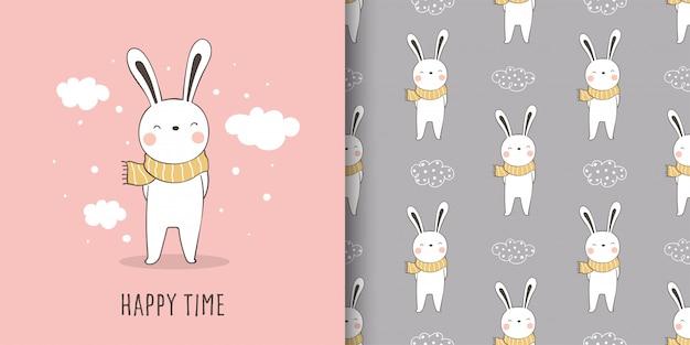 Carte de voeux et motif imprimé lapin en tissu textile enfant.