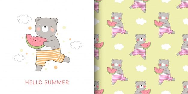 Carte de voeux et motif imprimé ours tenant la pastèque pour l'été.