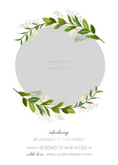 Carte de voeux de naissance de bébé avec des éléments floraux. cadre photo de modèle de douche de bébé avec des fleurs. enfant nouveau-né, faire-part de mariage enregistrer la carte de date avec couronne, feuilles. illustration vectorielle