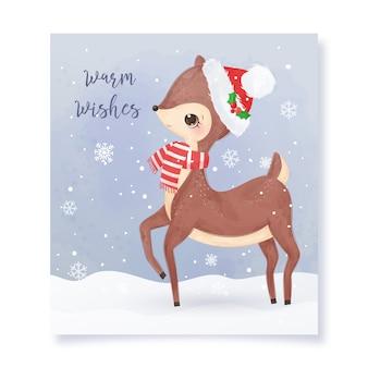 Carte de voeux de noël avec adorable cerf