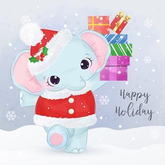 Carte de voeux de noël avec adorable éléphant