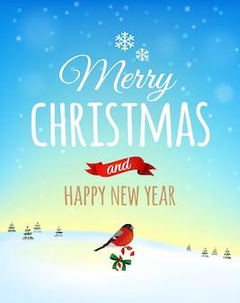 Carte de voeux de noël, affiche. oiseau bouvreuil sur un paysage d'hiver. . joyeux noel et bonne année