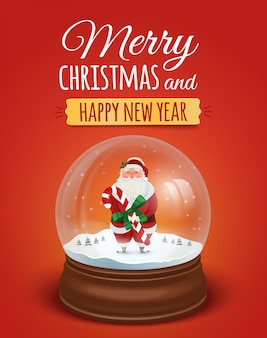 Carte de voeux de noël, affiche avec le père noël dans la boule à neige. . joyeux noël et bonne année lettrage texte