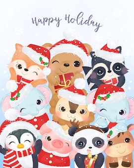 Carte de voeux de noël avec des animaux heureux