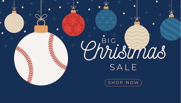 Carte de voeux de noël de baseball. joyeux noël et bonne année bannière de sports de dessin animé plat. balle de baseball comme boule de noël sur fond. illustration vectorielle.