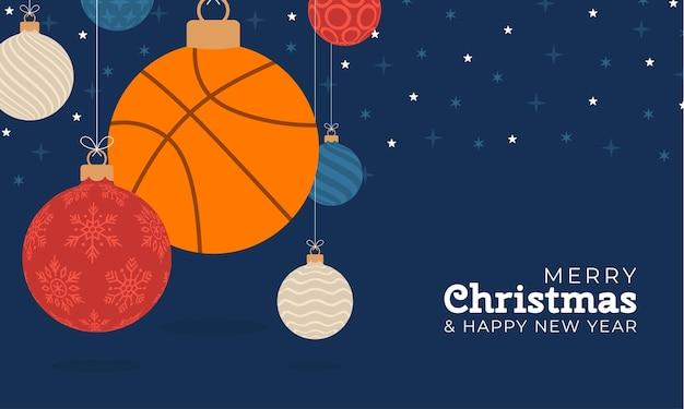 Carte de voeux de noël de basket-ball. joyeux noël et bonne année bannière de sports de dessin animé plat. ballon de basket comme boule de noël sur fond. illustration vectorielle.