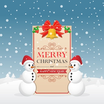 Carte de voeux de noël avec bonhomme de neige et cloches de noël décoratives