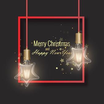 Carte de voeux de noël et de bonne année décorée d'ampoule en forme d'étoile