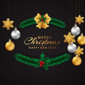 Carte de voeux de noël et bonne année magnifiquement décorées